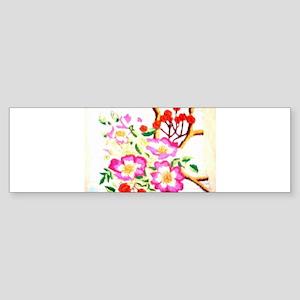 Wild Rose Embroidery Bumper Sticker