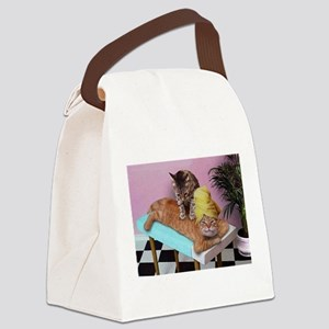 Funny Cat Massage Canvas Lunch Bag