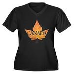 Canada Women's Plus Size V-Neck Dark T-Shirt