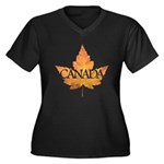 Canada Women's Plus Size V-Neck Dark T-Shirt