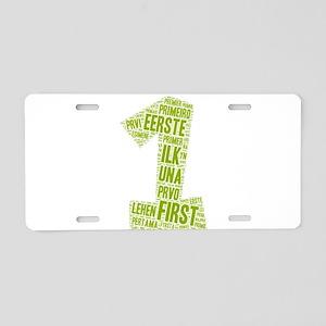 first languages wordart Aluminum License Plate