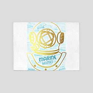 marine diving helmet 5'x7'Area Rug