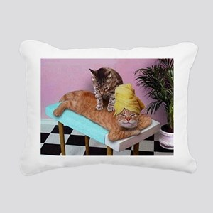 Funny Cat Massage Rectangular Canvas Pillow