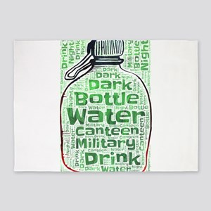 bottle water canteen military water 5'x7'Area Rug
