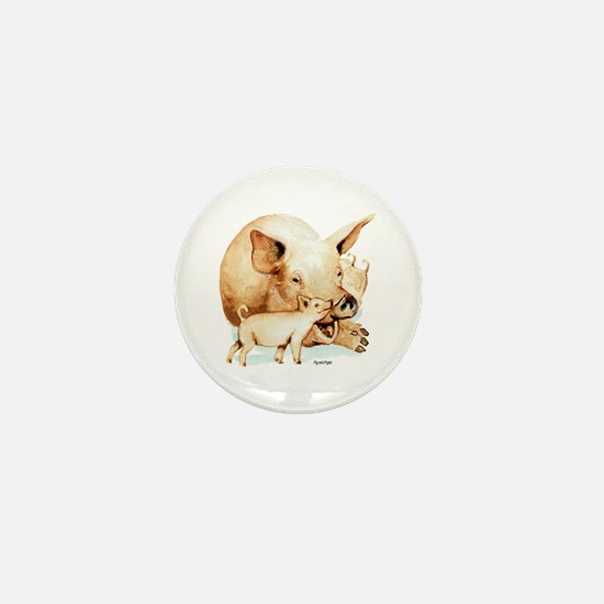 Pig and Piglet Mini Button