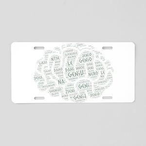 genius languages wordcloud Aluminum License Plate