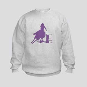 Purple Barrel Racer Female Rider Kids Sweatshirt
