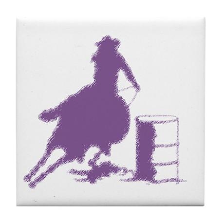 Purple Barrel Racer Female Rider Tile Coaster