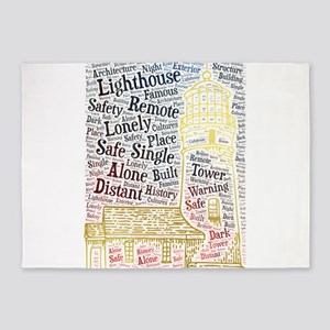 lighthouse alone lonely single dist 5'x7'Area Rug