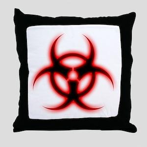 Glowing biohazard Throw Pillow