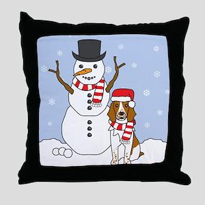 Welsh Springer Winter Throw Pillow