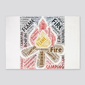 fire flame campfire camping 5'x7'Area Rug