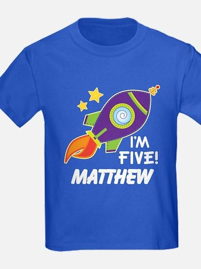 5th Birthday Rocket Personalized T-Shirt