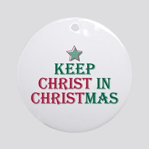 Keep Christ star Ornament (Round)