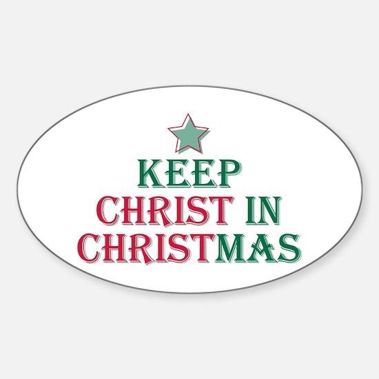 Keep Christ star Oval Decal
