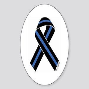 Police Vets Ribbon Oval Sticker