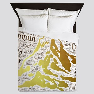log cabin alone lonely single distant Queen Duvet