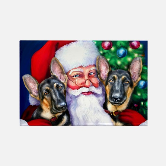 Santa's GSD Christmas Rectangle Magnet