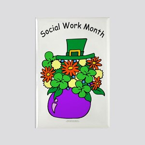 Social Work Month Vase Rectangle Magnet