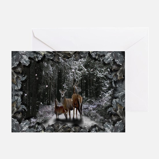 Deer Family Solstice Greeting Card