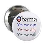 """Obama: Yes we will 2.25"""" Button (10 pack)"""