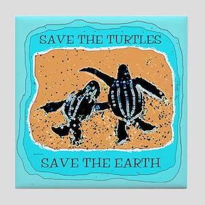 Baby Leatherback Sea Turtles Tile Coaster