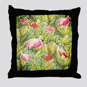 Aloha Tropical Flamingo Summer Animal Throw Pillow