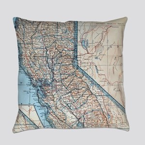 Vintage Map of California (1921) Everyday Pillow
