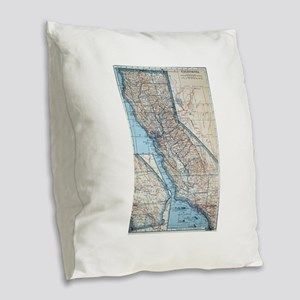Vintage Map of California (192 Burlap Throw Pillow