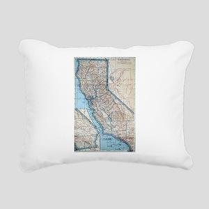 Vintage Map of Californi Rectangular Canvas Pillow