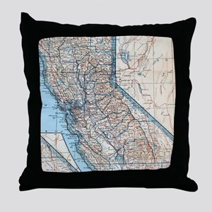 Vintage Map of California (1921) Throw Pillow