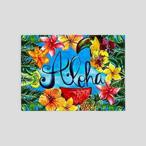 Summer Aloha Hawaii Florida Beach S 5'x7'Area Rug