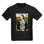 Mona Lia/Std Poodle (silver) Kids Dark T-Shirt
