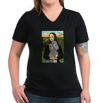 Mona Lia/Std Poodle (silver) Women's V-Neck Dark T