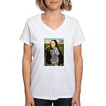Mona Lia/Std Poodle (silver) Women's V-Neck T-Shir