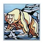 Polar Bear Art Tile Coaster Wildlife Painting