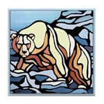 Polar Bear Art Tile Coaster Wildlife Painting