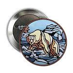 Polar Bear Art Button Wildlife Painting Design