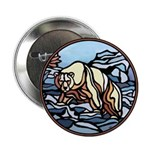 Polar Bear Art Button Wildlife Painting Design