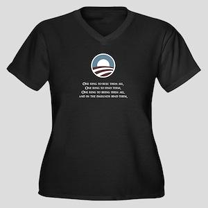 One Ring Women's Plus Size V-Neck Dark T-Shirt