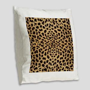 Leopard Print Burlap Throw Pillow