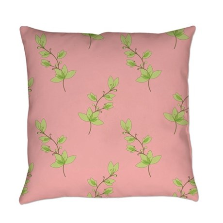 Green Plants on Pink Floral Everyday Pillow