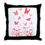 Pink Butterfly & Flowers Art Throw Pillow