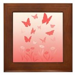 butterfly & Flowers Landscape Art Framed Tile