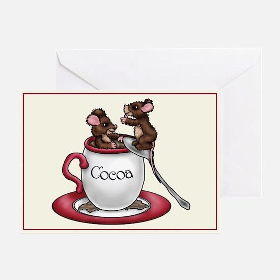 """Cocoa Mice"" Single Greeting Card"