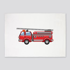 Shiny Red Firetruck Hook and Ladder 5'x7'Area Rug