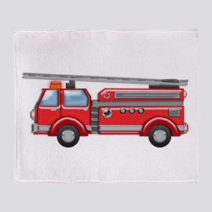 Shiny Red Firetruck Hook and Ladder Throw Blanket