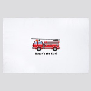 Shiny Red Firetruck Hook and Ladder TE 4' x 6' Rug