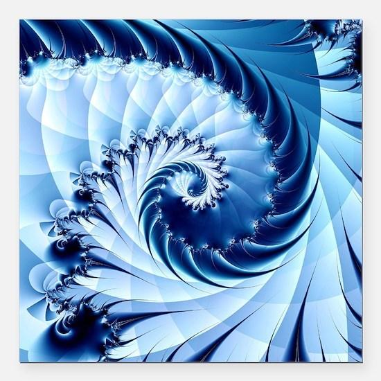 """Unique Spiral fractal Square Car Magnet 3"""" x 3"""""""