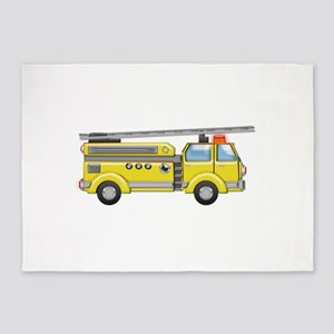 Shiny Yellow Firetruck Hook and Lad 5'x7'Area Rug